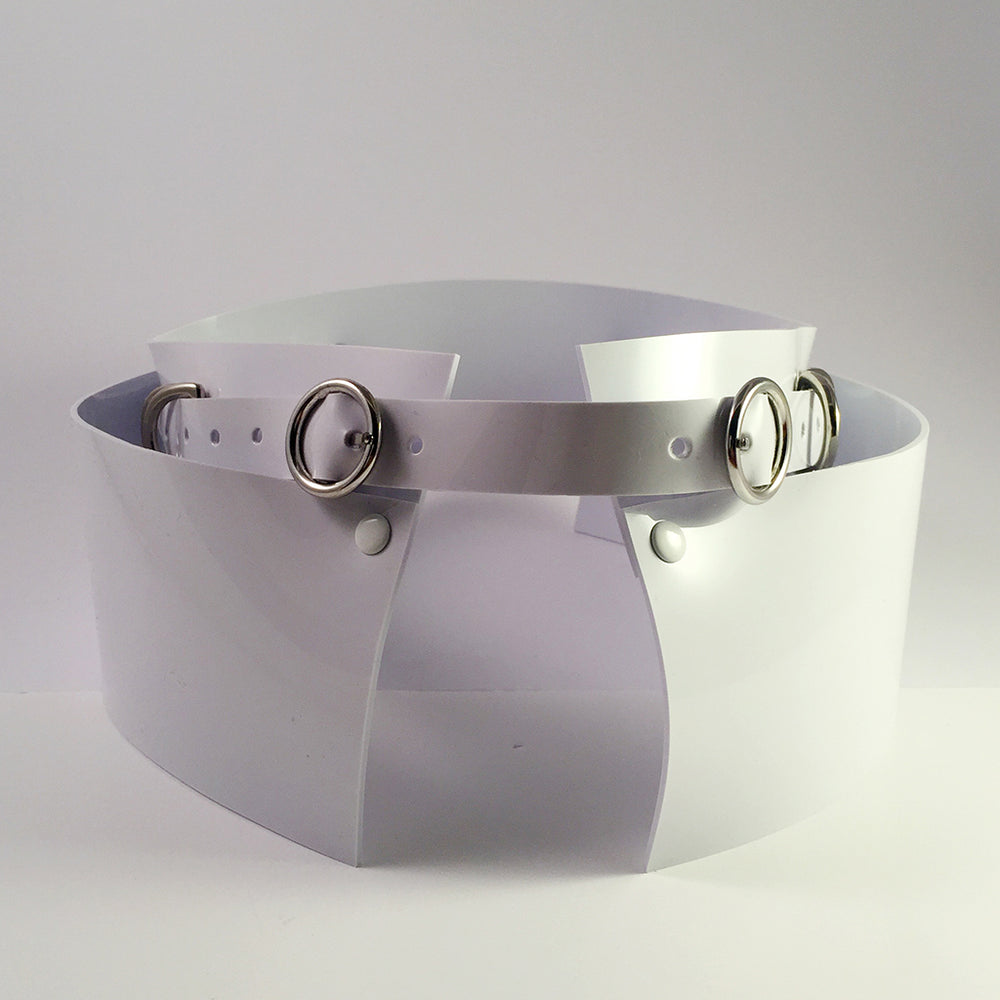 Jivomir Domoustchiev original Vinyl PVC Wide Belt Finished with Silver look Studding and Buckles. Adjustable fastening. Hand Crafted by Jivomir Domoustchiev in London. Can be worn over tailoring or jersey.