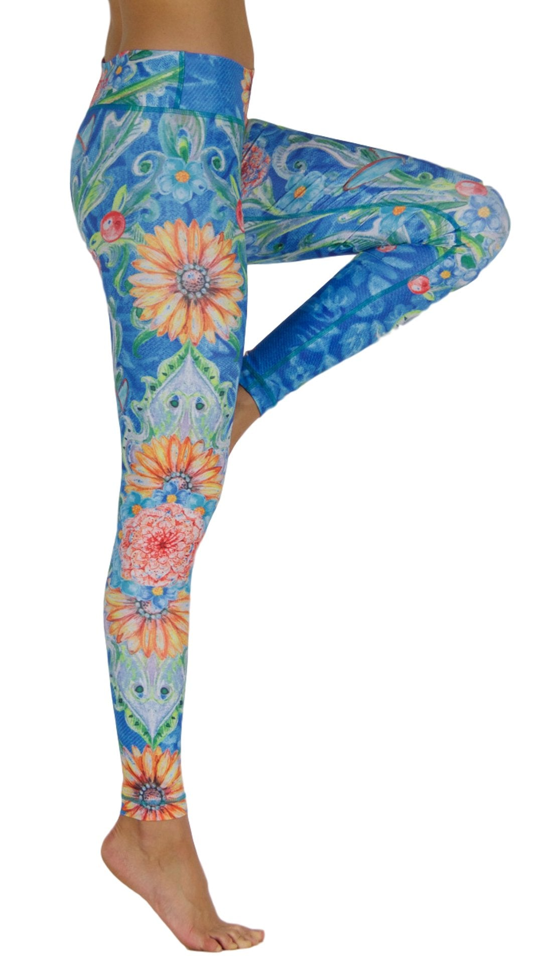 Flowers by the Sea by Niyama - High Quality, Yoga Legging for Movement Artists.