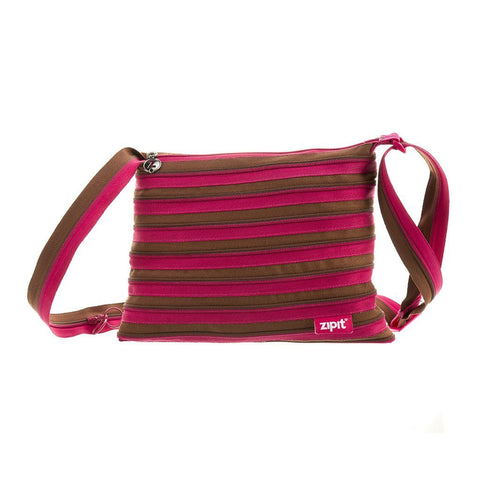 Zipper Shoulder Bag Shoulder Bag ZIPIT Fuchsia & Deep Brown
