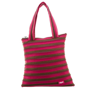 Zipper Large Tote Bag Tote Bag ZIPIT Fuchsia & Deep Brown