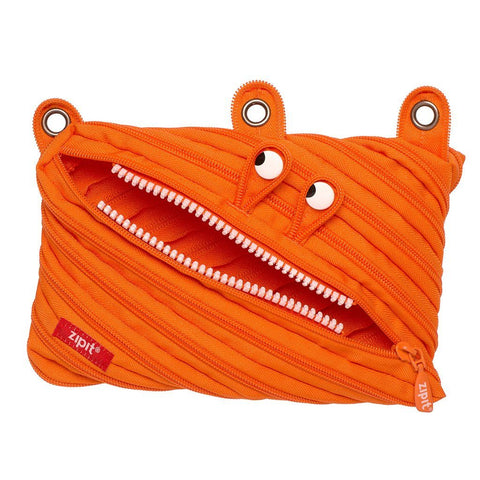 Monster 3-Ring Pencil Case 4-Pack (Pink, Orange, Lime, Blue)