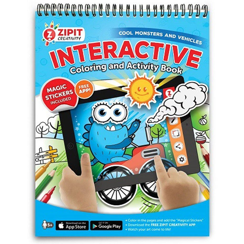 Interactive Coloring and Activity Book, Monster Vehicles – ZIPIT