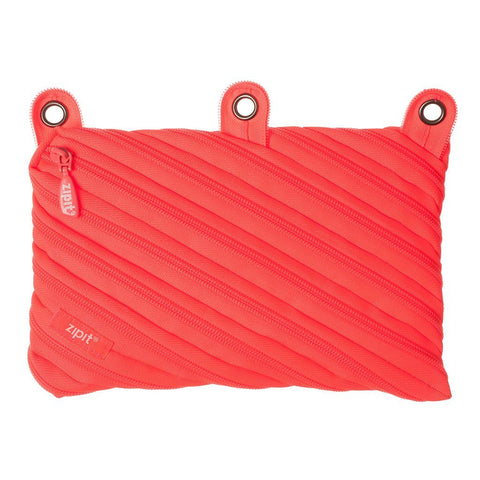 Neon 3 Ring Binder Pouch 3 Ring Pencil Case ZIPIT Glowing Peach