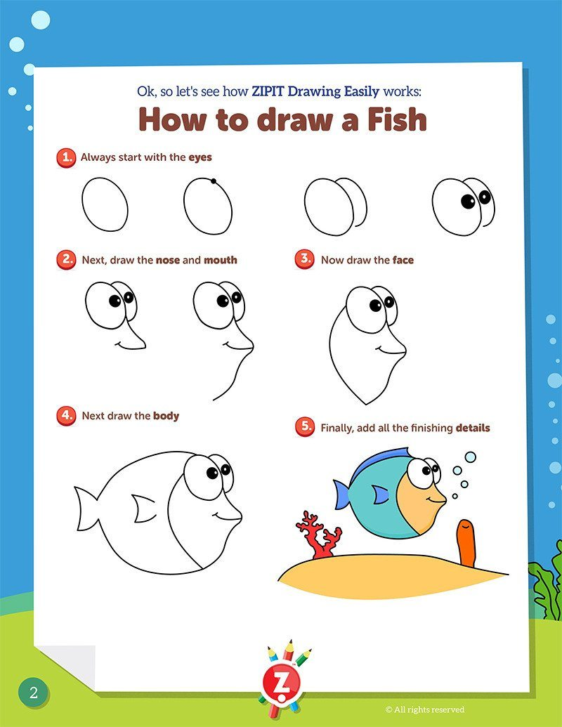 photo regarding Printable Sea Creatures titled Drawing Simply Electronic Printable Booklet - Sea Creatures ZIPIT