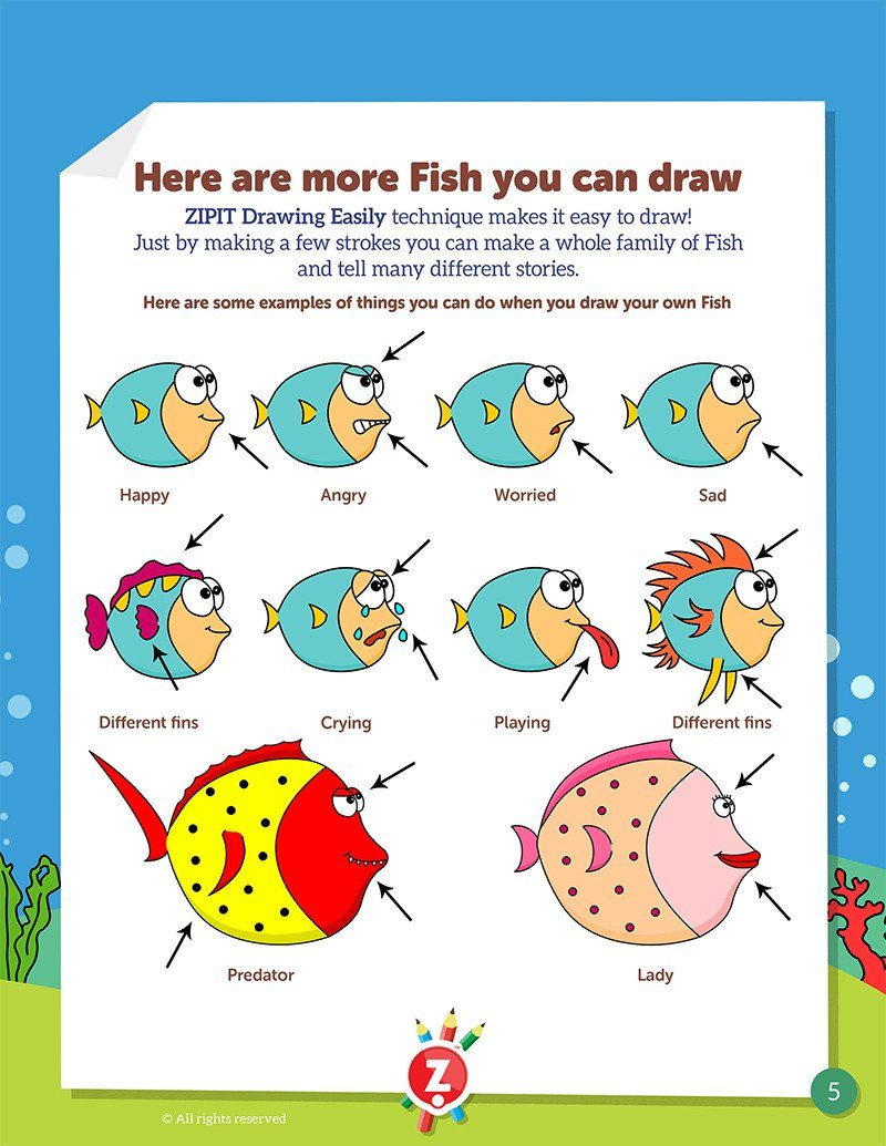 image relating to Printable Sea Creatures named Drawing Quickly Electronic Printable Booklet - Sea Creatures ZIPIT