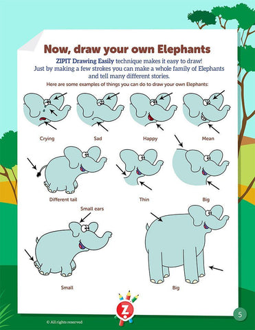 Drawing Easily Booklet - Wild Animals