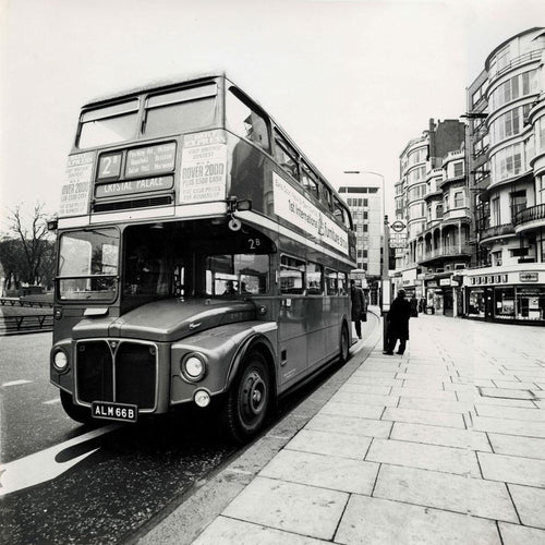 Old London Red Bus - Fine Art Print mit Rahmen und Passepartout