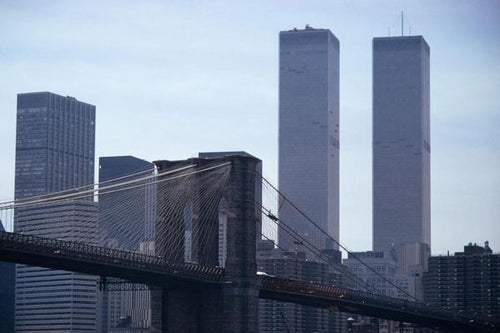 Brooklyn Bridge mit Twin Towers 1975 - Fine Art Print mit Rahmen und Passepartout