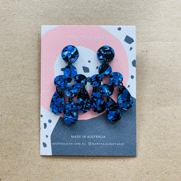 Martha Jean Blue Sparkle Zara Earrings