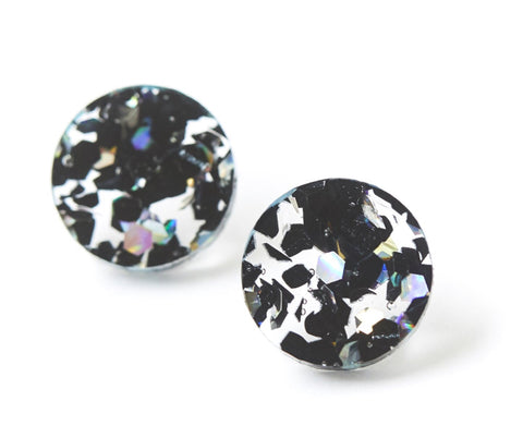 Martha Jean Black Cosmos Circle Stud Earrings