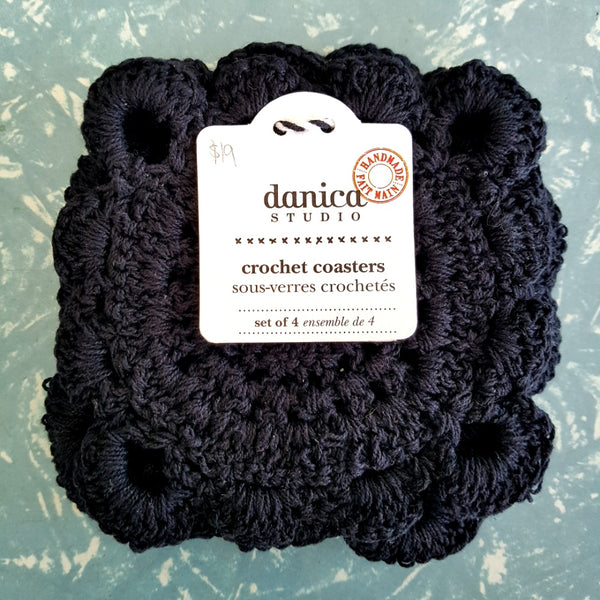 Danica Studio Black Crochet Coaster Set