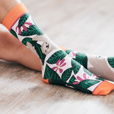 Woven Pear Slow Down Sloth Socks