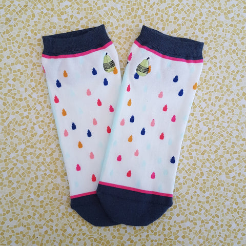 Woven Pear Colourful Raindrops Ankle Socks