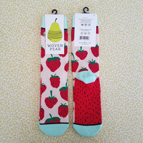 Woven Pear Strawberry Fields Socks