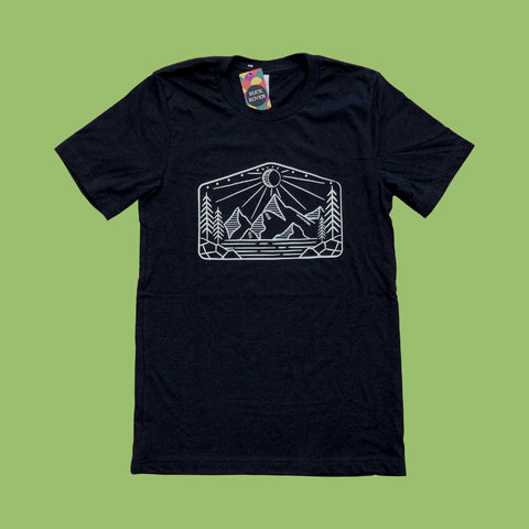 Black tshirt with white screen printed mountain design.