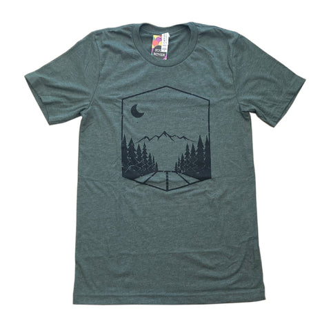 Muted green tee with black screen printed design of a road lined with trees, leading to a mountain range.