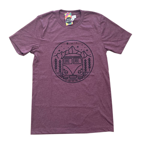 Muted purple tee with black circular screen printed design of a kombi van in a mountain range.