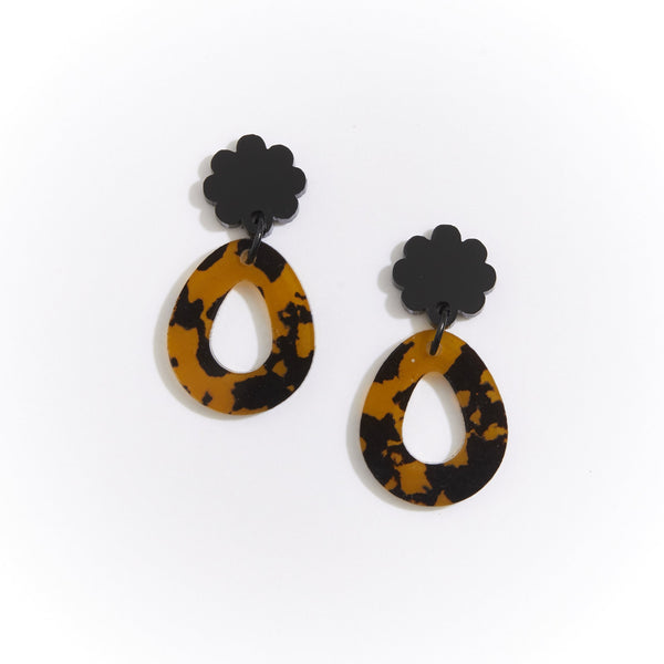 Martha Jean Leopard Dark Daisy Earrings