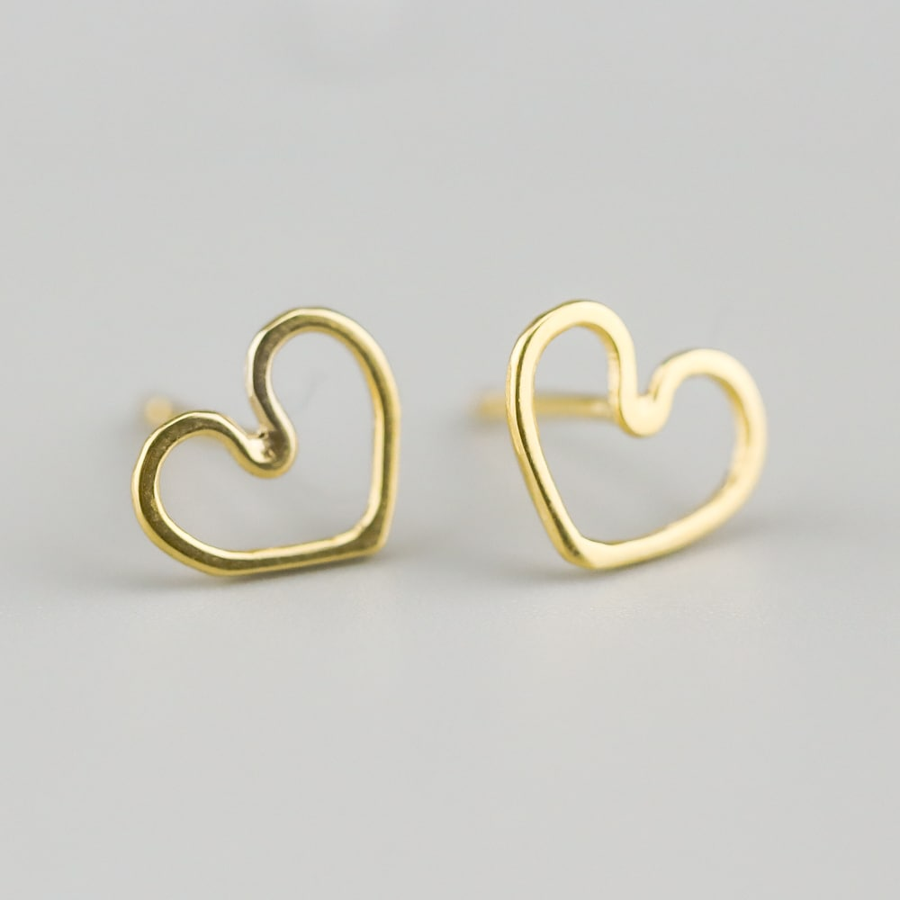 Ayana Yellow Gold Heart Studs