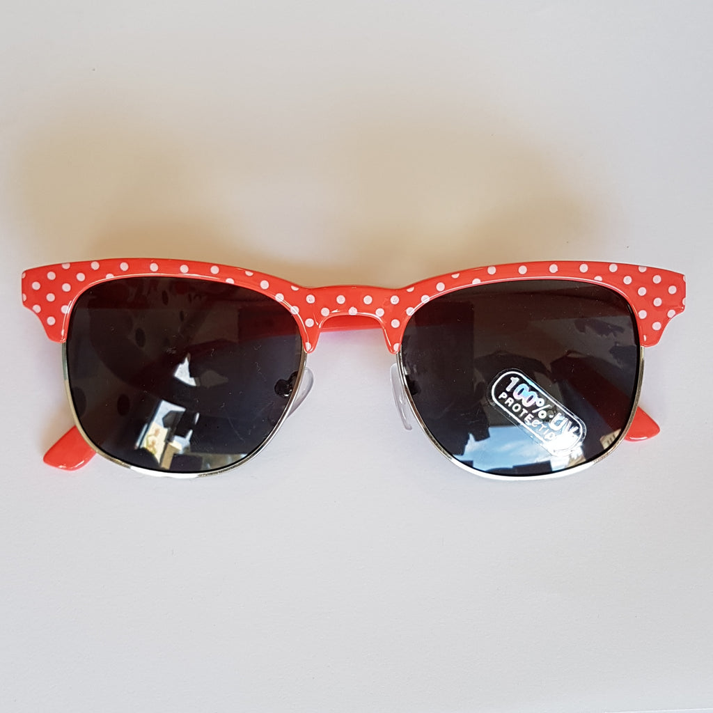 Unity Kids' Retro Half Frame Polka Dot Sunglasses