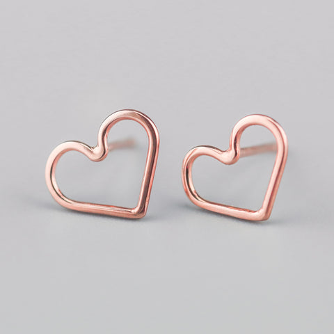 Ayana Rose Gold Heart Studs