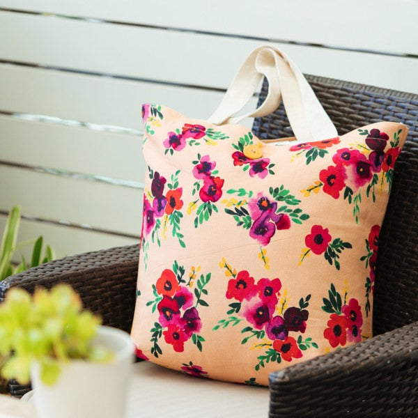 Hello Sunday Peach Flora Large Tote