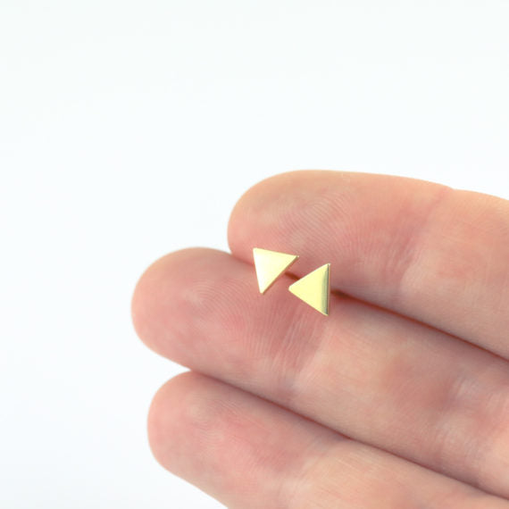Ayana Yellow Gold Triangle Studs
