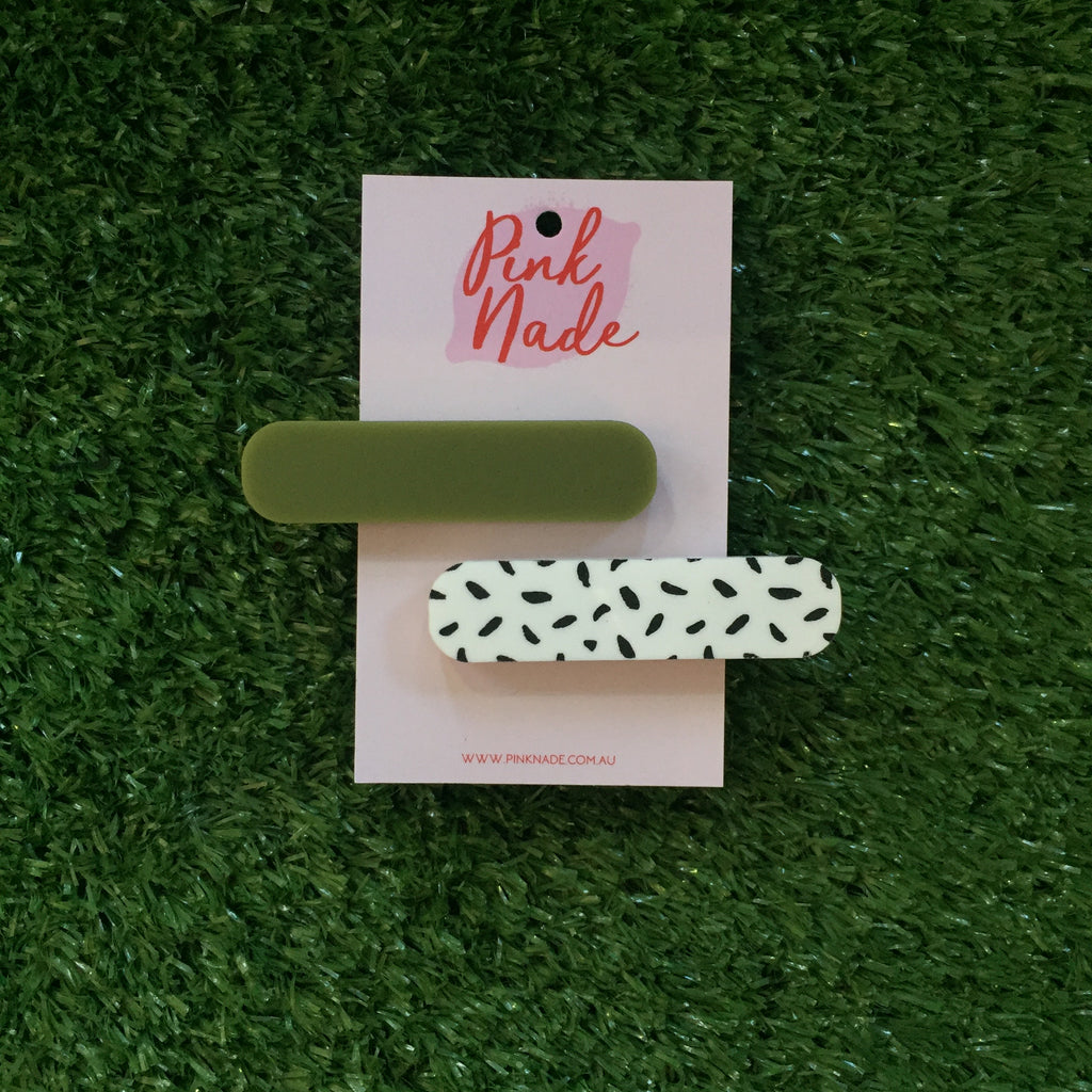 Pink Nade Olive and Black Spot Hair Clip Set