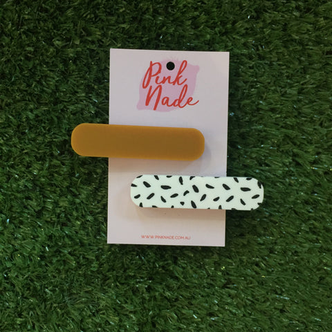 Pink Nade Mustard and Black Spot Hair Clip Set