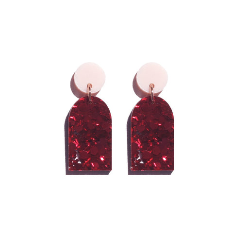 Martha Jean Pink/Red Arc Earrings