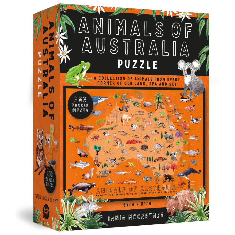 Animals of Australia puzzle box, which is orange and has an image of Australia with lots of native animals across it