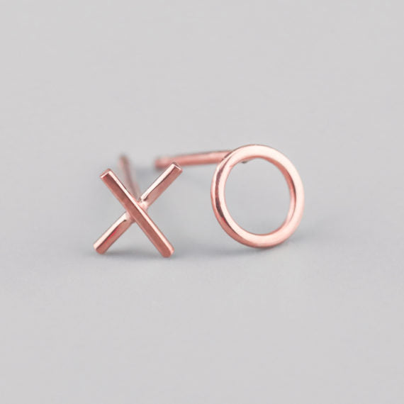 Ayana Rose Gold Mini Kiss & Hug Studs