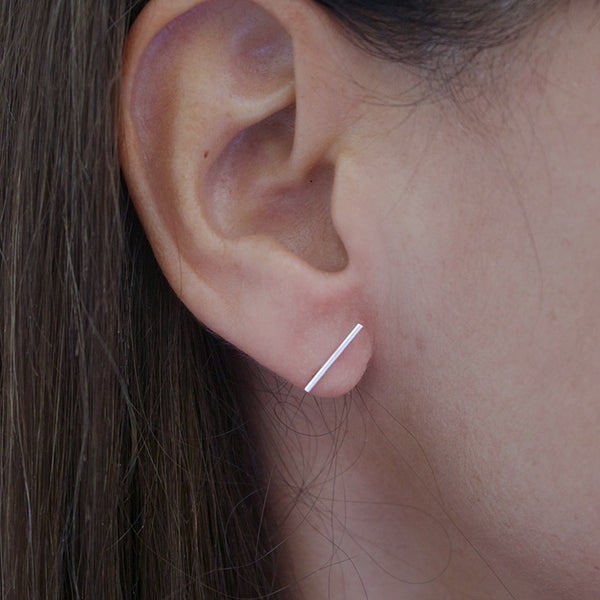 Ayana Silver Long Thin Bar Studs