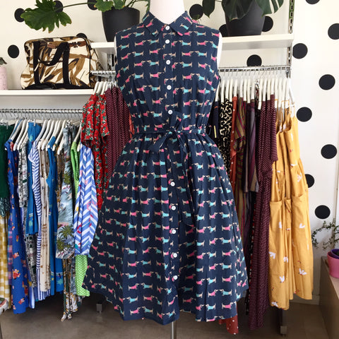 Origami Doll Great Adventure Navy Sausage Dog Dress