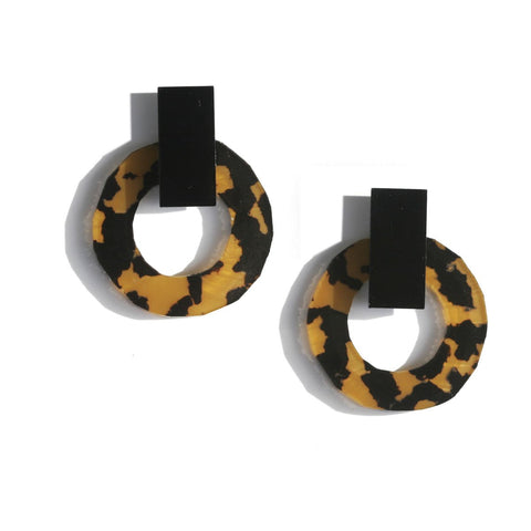Martha Jean Leopard Dark Q Earrings