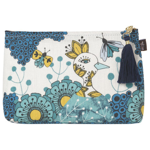 Danica Studio Birdland Small Linen Cosmetic Bag