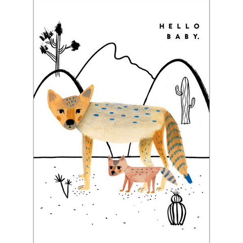 Carolyn Suzuki Hello Baby Coyote Card