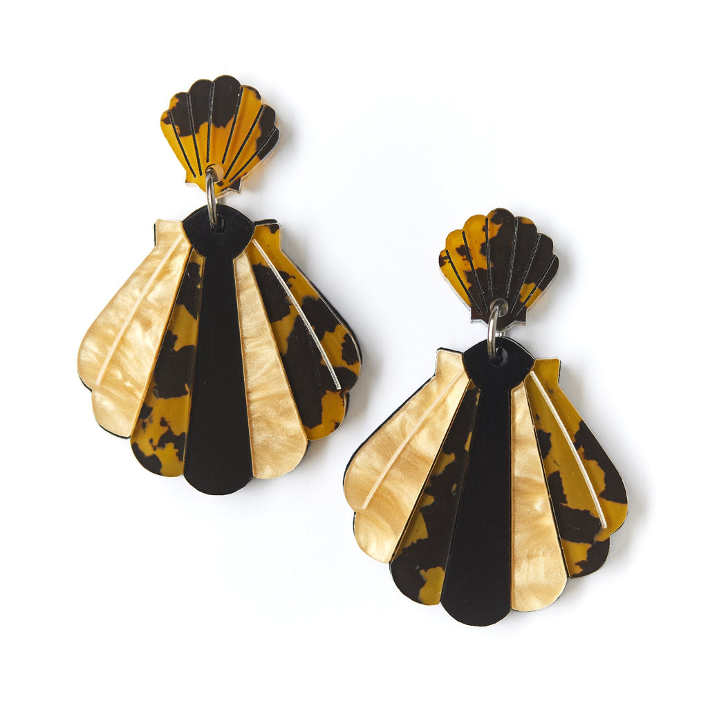 Martha Jean Leopard Shell Earrings