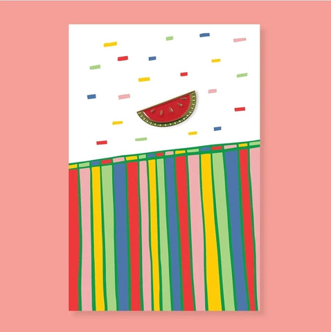 The Good Twin Watermelon Pin & Postcard