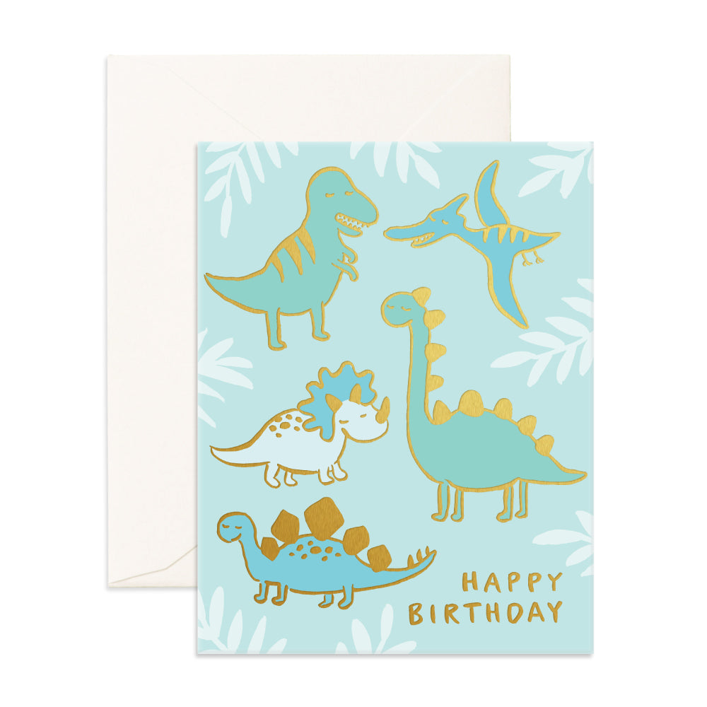 Fox & Fallow Birthday Dinosaurs Foil Card