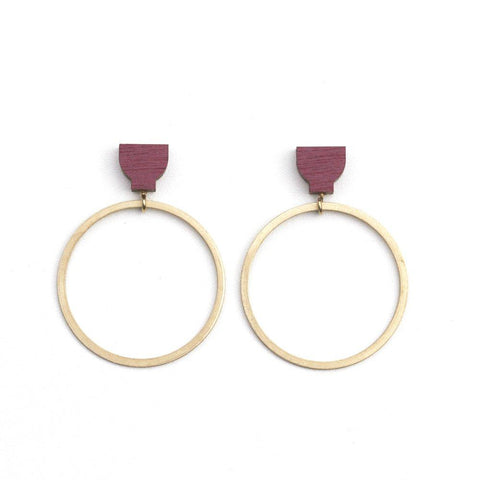 Martha Jean Burgundy/Brass Hoop Earrings