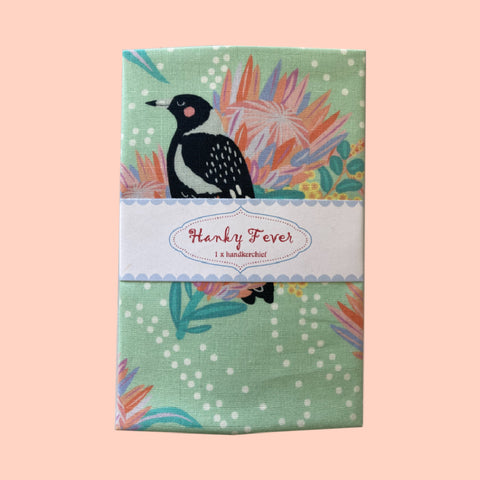 Hanky Fever Mint Magpies in Bloom Hanky