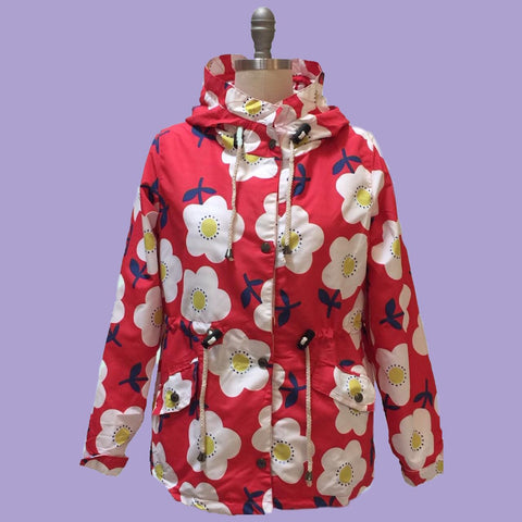 Origami Doll Red Floral Raincoat