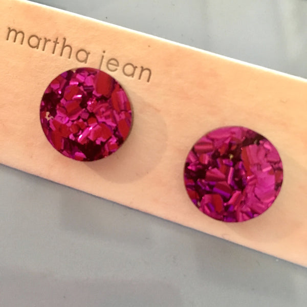 Martha Jean Bright Pink Circle Stud Earrings