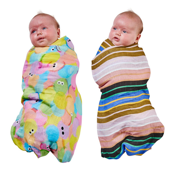 Kip & Co Hello World & Stripe Overload Bamboo Swaddle Set