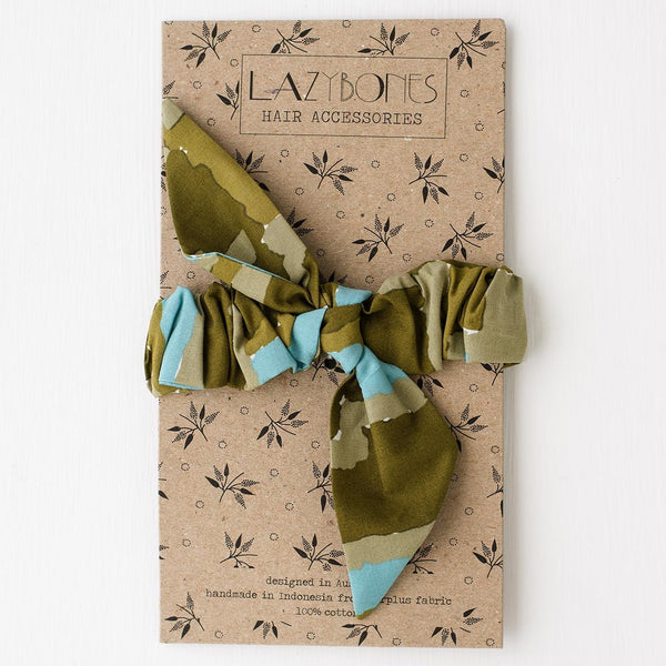 Lazybones Scrunchie with Bow - Watercolour