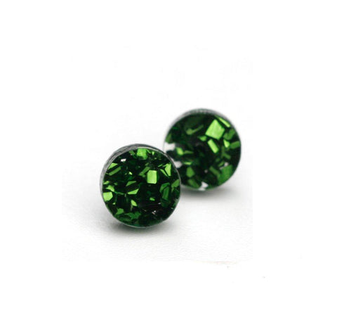 Martha Jean Green Mini Circle Stud Earrings