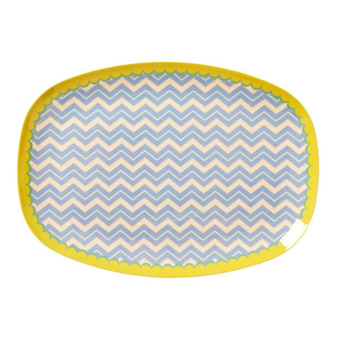 Rice Rectangular Melamine Plate - Chevron