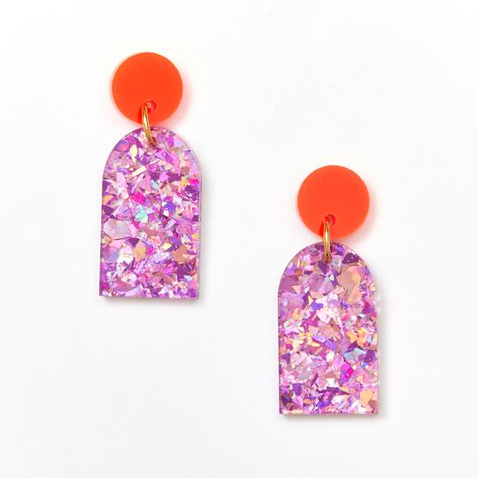 Martha Jean Neon Orange Mauve Arc Earrings on white background