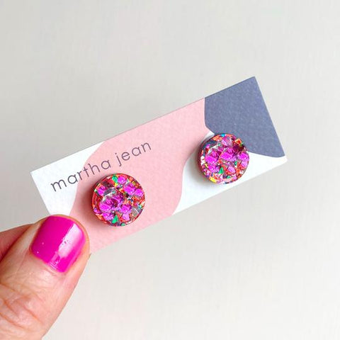 Martha Jean Fuchsia Circle Stud Earrings